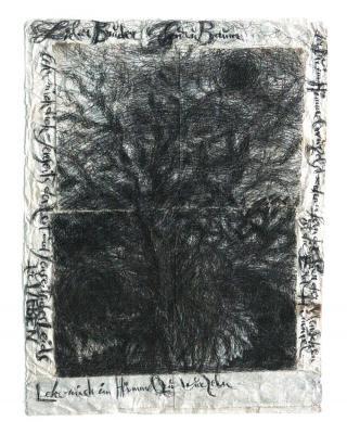 Lieber Bruder Baum, lehr mich im Himmel zu wurzeln, 1997 – 1999, Kugelschreiber-Zeichnung, 73 x 57 cm