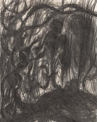 Affen im Sprung, sich mit der Luft vermählend, 1990 – 1995, Bleistiftzeichnung, 29,5 x 21 cm