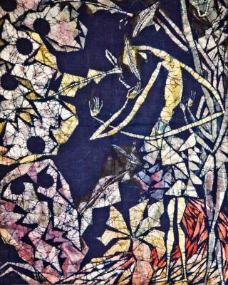 Obatala Alajere Oshun, 1995, Wachsbatik / Textilmalerei, 83 x 60 cm