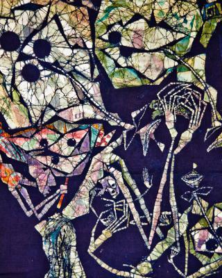 Obatala, lya Mopoo und das Wildschwein, 1994, Wachsbatik / Textilmalerei, 105 x 55 cm