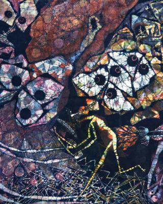 Ogun, der Jäger Tinai und der heilige Hirsch, 1997, Wachsbatik / Textilmalerei, 129 x 90 cm