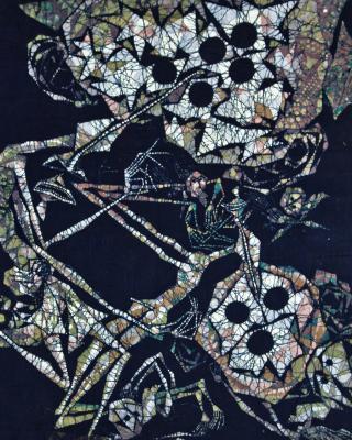 Die gegenseitige Anbetung der Orisha Alajere und Obatala, Wachsbatik / Textilmalerei, 1998, 96 x 92 cm