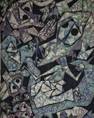 Die Pythonschlange und Odudua, Schöpfungsmythos, 1977, Wachsbatik / Textilmalerei, 130 x 85 cm