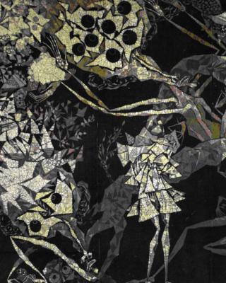 Orisha Obatala's Metamorphosen, 1984, Wachsbatik / Textilmalerei, 230 x 350 cm