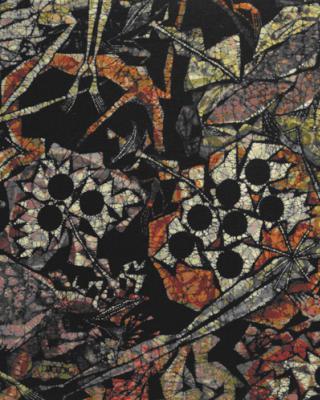 Die Apotheose des Obatala Yoruba-Christus Dimension, 1999, Wachsbatik / Textilmalerei, 236 x 127 cm