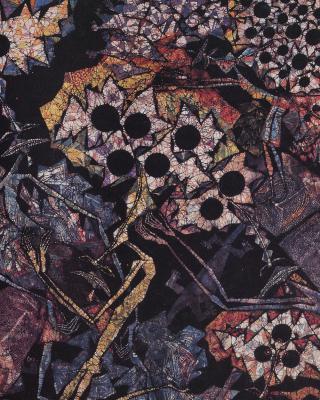 Der heilige Mythos des Obatala, 1998, Wachsbatik / Textilmalerei, 100 x 60 cm