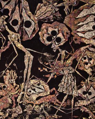 Obatalas Reise zu Shango, 1981, Wachsbatik / Textilmalerei, 210 x 340 cm