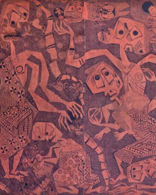 Das große Fest des Ajagemo, 1966, Kasavastärke Batik, 200 x 400 cm