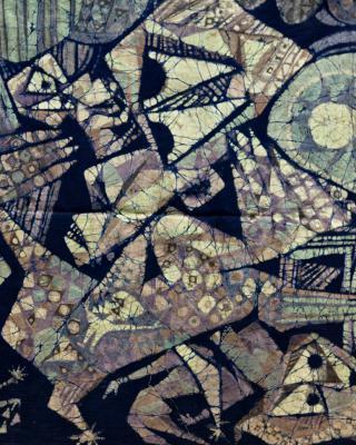 Der apokalyptische Hahn, 1975, Wachsbatik / Textilmalerei, 60 x 60 cm