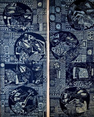 Obatala fängt Shangos Pferd, 2-teilig, 1958, Kasavastärke Batik, je 214 x 83 cm