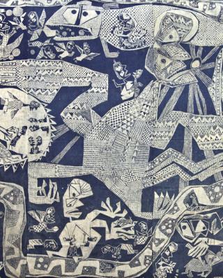 Mythos Odudua Schöpfungsgeschichte, 1963, Kasavastärke Batik, 190 x 300 cm