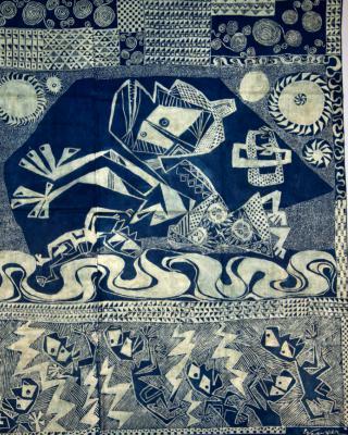 Moremi, Odudua steigt vom Himmel, 1959, Kasavastärke Batik, 142 x 160 cm