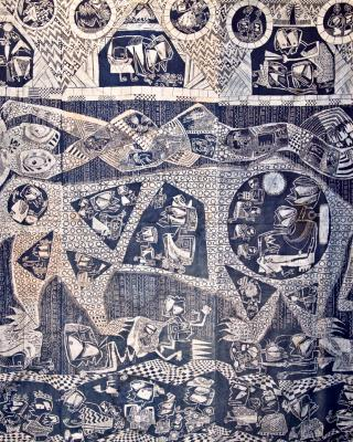 Leopard, die magische Erdendimension, 1959, Kasavastärke Batik, 253 x 258 cm
