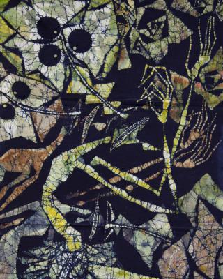 Eshu und Obatala, 1998, Wachsbatik / Textilmalerei, 128 x 60 cm