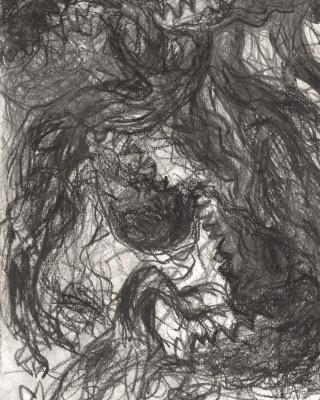 Der Gott ist immer die Beute, 1997, Bleistiftzeichnung, 21 x 15 cm