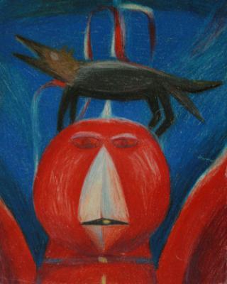 Traumgesichte: Der rote Vogel, 1943 - 1944, Buntstiftzeichnung, 29,5 x 20 cm