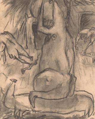 Periode der Holztafelbilder Ibadan, 1955, Kohlezeichnung, 22 x 16,5 cm