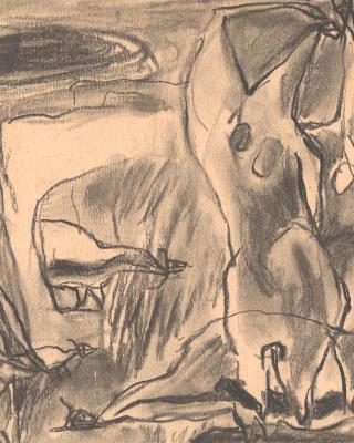 Periode der Holztafelbilder Ibadan, 1955, Kohlezeichnung, 16,5 x 22 cm