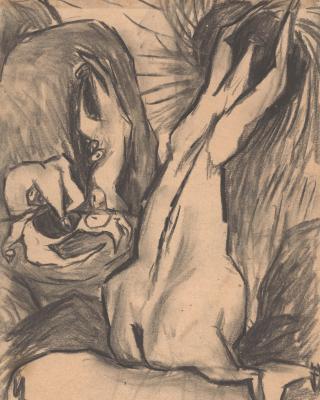 Periode der Holztafelbilder Ibadan, 1955, Kohlezeichnung, 28 x 19 cm