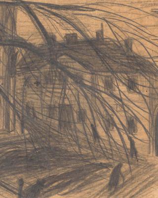 Österreich vor 1945 – Kirchenplatz mit Baum, 1937 – 1939, Bleistiftzeichnung, 14 x 21 cm