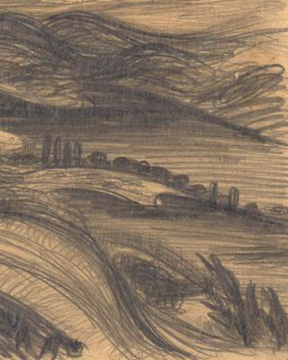 Österreich vor 1945 – Landschaft in der Südsteiermark, 1937 – 1939, Bleistiftzeichnung, 15 x 21 cm