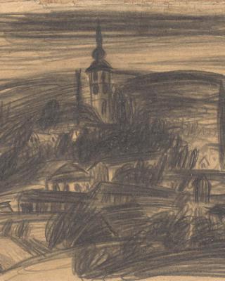 Österreich vor 1945 – Landschaft mit Kirchturm Südsteiermark, 1937 – 1939, Bleistiftzeichnung, 14,5 x 21 cm