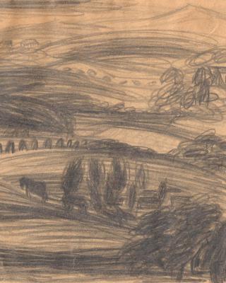 Österreich vor 1945 – Landschaft mit Pferdewagen Steiermark, 1937 – 1939, Bleistiftzeichnung, 15 x 21 cm