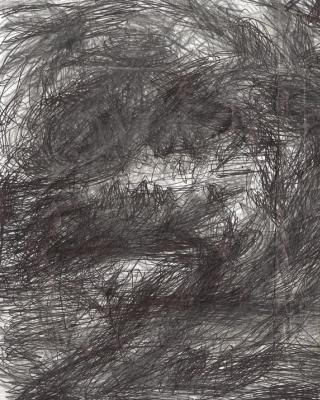 Oshogbo Nigeria – Meditation am Oshun River Shonponna, 2001, Kugelschreiber Zeichnung, 21 x 30 cm
