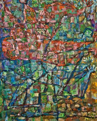 Ajagemo, 1985, Öl auf Leinwand, 73 x 60 cm