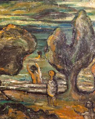 Badende, 1945, Öl auf Leinwand, 40,5 x 50 cm