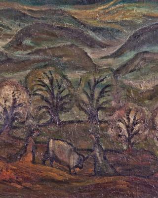 Steirische Landschaft, Kühe in der Laube, 1945, Öl auf Leinwand, 42 x 62 cm
