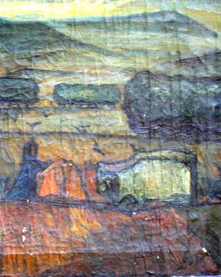 Das Pflügen der Erde, 1938, Öl auf Leinwand, 45 x 59 cm