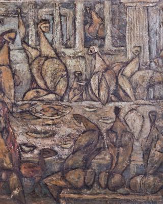 Die Vögel sind nicht eingeladen, 1947, Öl auf Leinwand, 62 x 76 cm