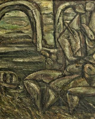 Das Liebespaar, 1947, Öl auf Leinwand, 65 x 79 cm