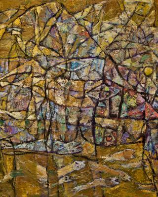 The Dying Elephant Oshun, 1975, Öl auf Sperrholz, 80 x 122 cm