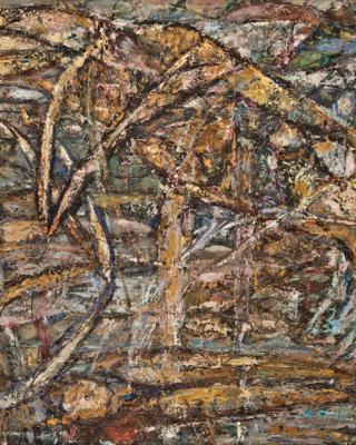 Obatala und Eshu, 1980, Öl auf Sperrholz, 77 x 122cm
