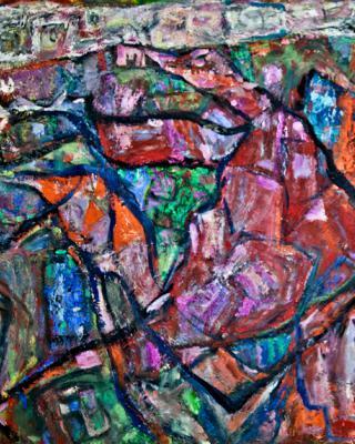 Babatunde, 1984, Öl auf Sperrholz, 71 x 122 cm