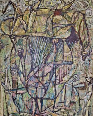 Hunter Burial Ilobu, 1982 - 1984, Öl auf Sperrholz, 122 x 81 cm