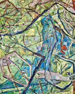 Parzival, 1984, Öl auf Sperrholz, 84 x 122 cm