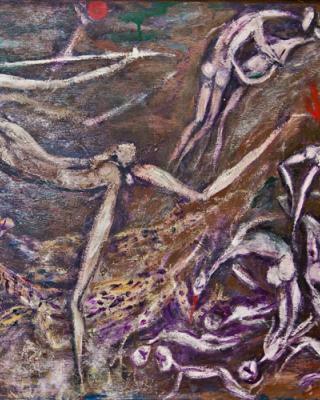 Der Triumph des Alajere, 1978, Öl auf Sperrholz, 61 x 122 cm