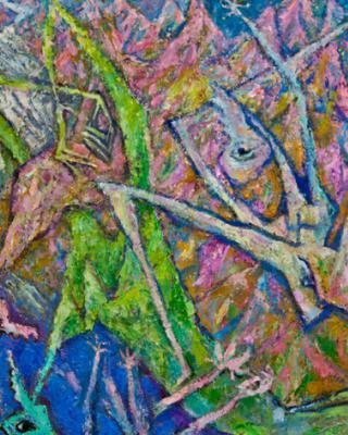 Die Landschaft in der Rahel starb, 1990, Öl auf Sperrholz, 57 x 118 cm