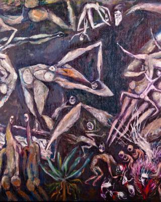 Das Begräbnis der Jäger, 1978, Öl auf Sperrholz, 92 x 122 cm