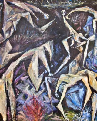 Pieta Odu Ifa Ela, 1979, Öl auf Sperrholz, 92 x 122 cm