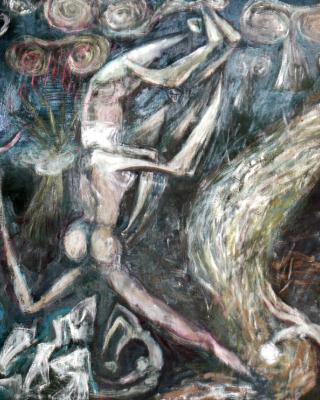 Ajagemo und der große Regen lyikun, 1979, Öl auf Sperrholz, 92 x 122 cm