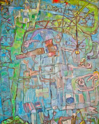 Gods in Overalls, 1984, Öl auf Leinwand, 122 x 82 cm