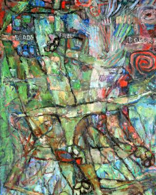 Birds Fall Down, 1984, Öl auf Sperrholz, 122 x 80 cm