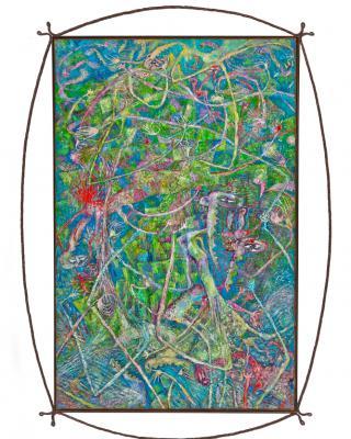 Tief in Dir bist du oh Mensch der Gott als Baum, als Stein, als Tier, 1993 - 1995, Öl auf Sperrholz, 152 x 98 cm