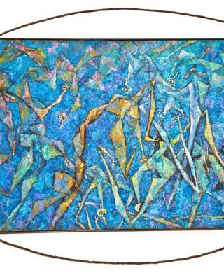 Ifa Pieta deep blue, 1982 - 1984, Öl auf Sperrholz, 90 x 124 cm