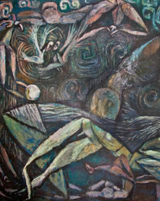 Ifa Pieta Ela, 1980, Öl auf Sperrholz, 90 x 124 cm