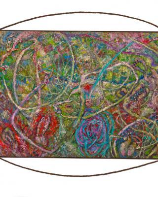 Orisha Oko, 1994, Öl auf Sperrholz, 91 x 122 cm
